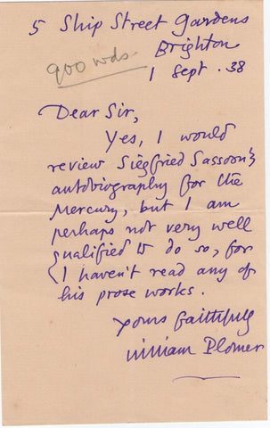 PLOMER William - Autograph Letter Signed 1938 reviewing Sassoon's autobiography