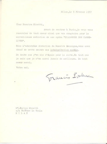 POULENC Francis - Typed Letter Signed after the premiere of Dialogues des Carmelites 1957