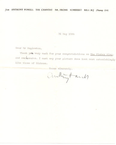POWELL Anthony - Typed Letter Signed 1986