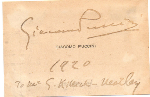 PUCCINI Giacomo - Visiting Card Signed 1920 with autograph message