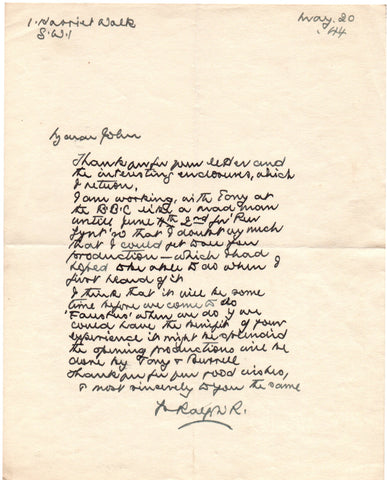 RICHARDSON Ralph - Autograph Letter Signed 1944 regarding work on Peer Gynt