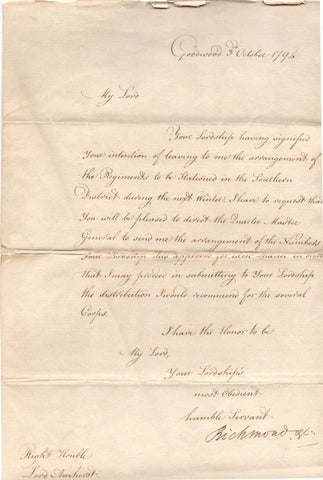 RICHMOND Charles Lennox, Duke of - Letter Signed 1794 regarding troops in the Southern District