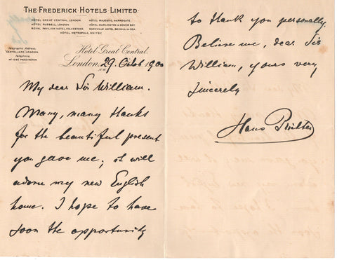 RICHTER Hans - Autograph Letter Signed 1900 sending thanks for a present