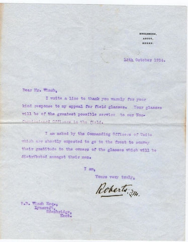 ROBERTS Lord Roberts of Kandahar - Typed Letter Signed 1914