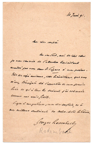 RODENBACH Georges - Autograph Letter Signed 1891 thanks for a review of his poem
