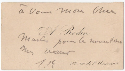 RODIN Auguste - Visiting Card with autograph New Year's Greeting