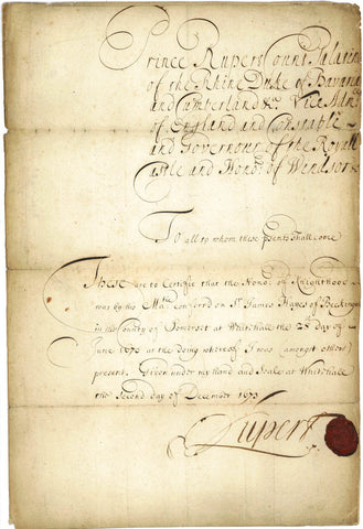 RUPERT of the RHINE - Document Signed 1673 regarding the knighthood of Sir James Hayes
