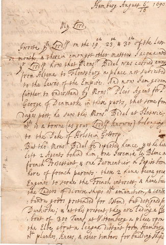 RYCAUT Sir Paul - Autograph Letter Signed 1690 spying on the French in Hamburg