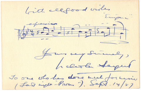 SARGENT Malcolm - Autograph Musical Quotation Signed from Enigma Variations