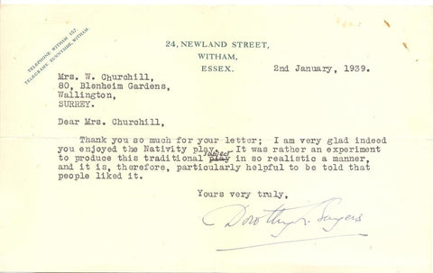 SAYERS Dorothy Leigh - Typed Letter Signed 1939 about her Nativity play