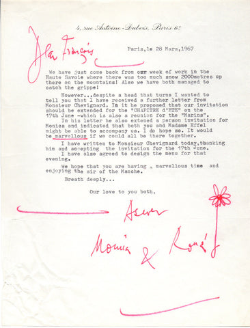 SEARLE Ronald - Typed Letter Signed 1967 to the cartoonist and illustrator Jean Effel