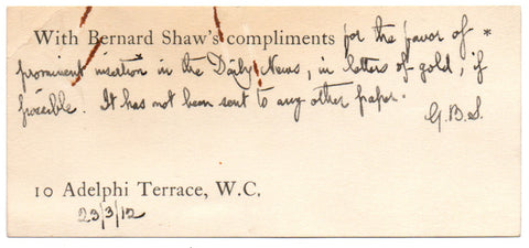SHAW George Bernard - Autograph Note Signed 1912 sending an article