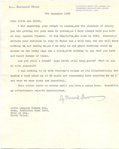 SHAW George Bernard - Typed Letter Signed 1946 - Are you still a Druid?