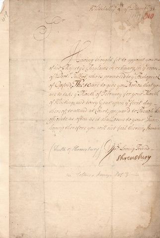 SHREWSBURY Duke of - Letter Signed 1699 to Dr Charles Trimnell the King's Chaplain