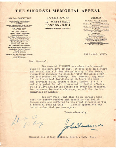 SIKORSKI Memorial Appeal - Typed Letter Signed 1949 praising the heroic service of the Polish Forces