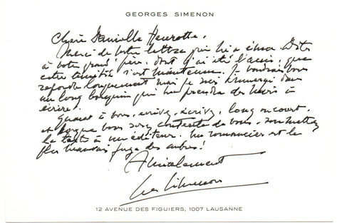 SIMENON Georges - Autograph Letter Signed giving friendly advice to a writer