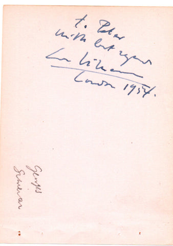 SIMENON Georges - Signature with sentiment