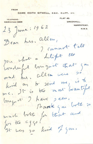SITWELL Edith - Autograph Letter Signed 1962 discussing an awkward cousin