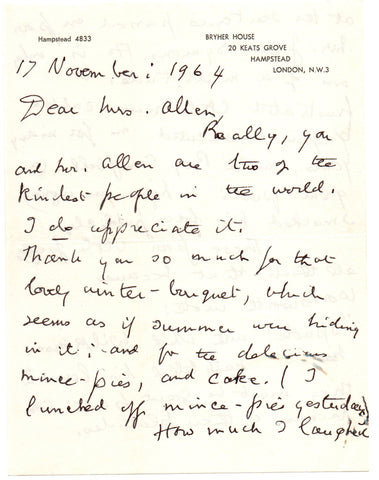 SITWELL Edith - Autograph Letter Signed 1964 reflecting on her feuds