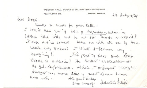 SITWELL Sacheverell - Autograph Letter Signed 1974 discussing a gala at the Royal Opera House