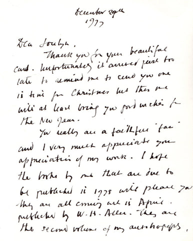 SMITH Dodie - Autograph Letter Signed on Christmas Card 1977 mentioning her new books
