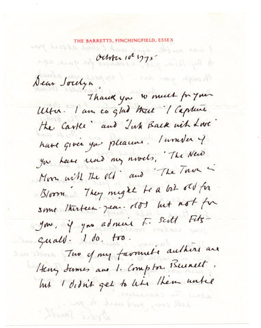 SMITH Dodie - Autograph Letter Signed 1975 regarding I Capture the Castle
