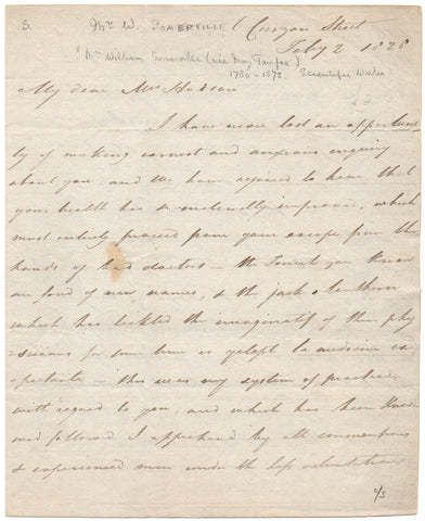 SOMERVILLE William - Autograph Letter Signed 1828 discussing medicine and family matters
