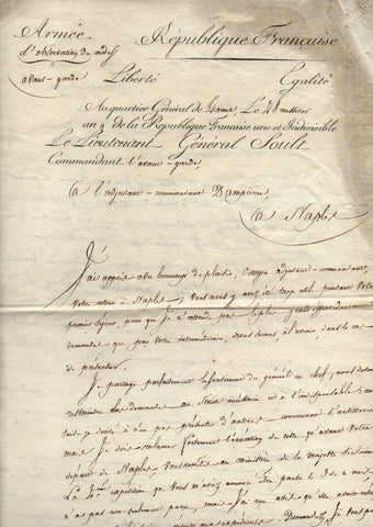 SOULT Marshal Nicolas Jean de Dieu - Letter Signed 1801 requesting ammunition in Italy