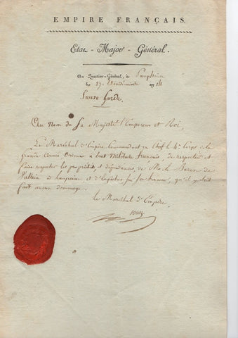 SOULT Marshal - Document Signed 1805