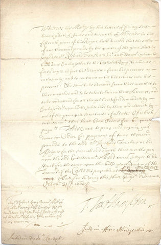 SOUTHAMPTON Thomas Wriothesley Earl of - Letter Signed 1665