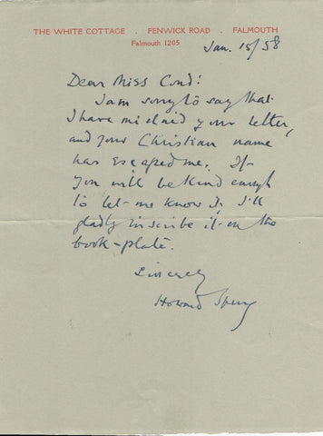 SPRING Howard - Autograph Letter Signed 1958
