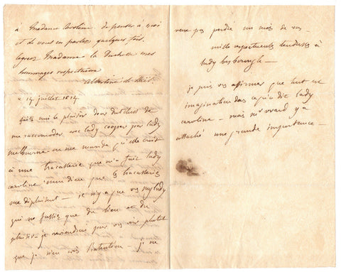 STAEL Madame de - Autograph Letter to the Duchess of Devonshire regarding Lady Cowper and Lady Caroline Lamb