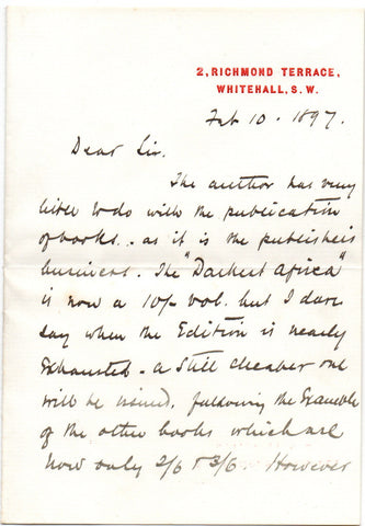 STANLEY Henry Morton - Autograph Letter Signed 1897 about In Darkest Africa