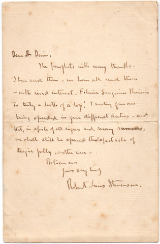 STEVENSON Robert Louis - Autograph Letter Signed while in Vailima to a doctor and member of the London Missionary Society