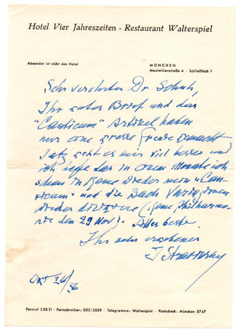 STRAVINSKY Igor - Autograph Letter Signed 1956 announcing he will conduct after his illness