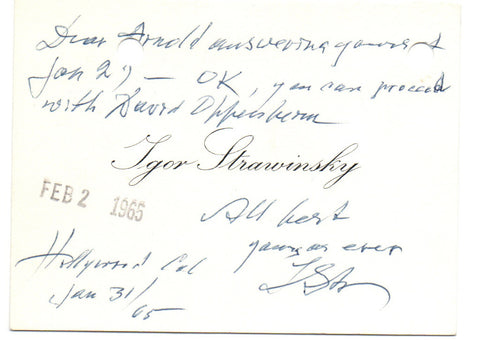 STRAVINSKY Igor - Autograph Message Signed 1965 on his visiting card