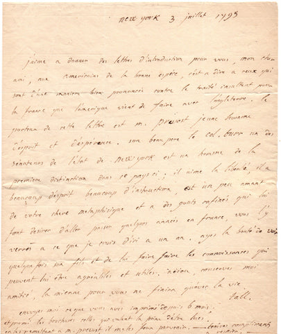 TALLEYRAND Charles Maurice - Autograph Letter Signed 1795 a letter of introduction for Aaron Burr's stepson