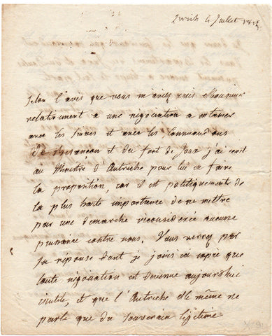 TALLEYRAND Auguste comte de - Autograph Letter Signed 1815 about Switzerland and negotiations in the aftermath of Waterloo