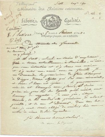 TALLEYRAND Charles Maurice - Letter Signed 1803 interceding for an Englishman