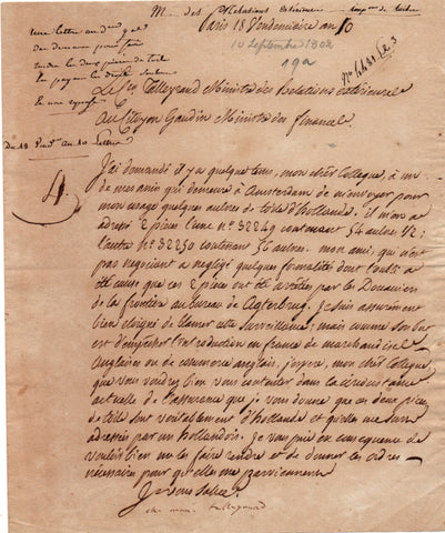TALLEYRAND Charles Maurice - Letter Signed 1801 requesting help with a parcel held at Customs