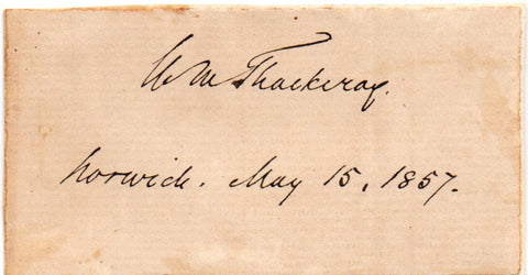 THACKERAY William Makepeace - Signature on card