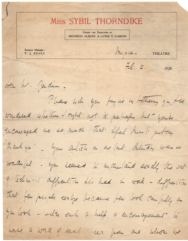THORNDIKE Dame Sybil - Autograph Letter Signed 1926 thanking an editor for a sympathetic article