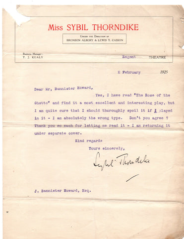 THORNDIKE Sybil - Typed Letter Signed 1925 turning down a role