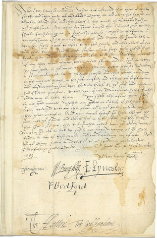 WALSINGHAM Sir Francis and Elizabethan Privy Council - Letter Signed 1583 confiscating the goods of a plotter