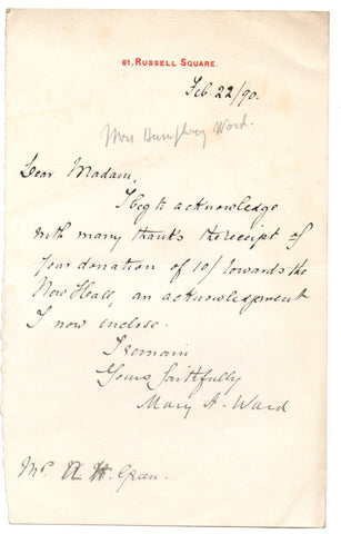 WARD Mary Augusta - Autograph Letter Signed 1890 thanks for a donation