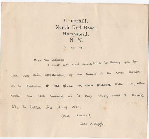 WAUGH Alec - Autograph Letter Signed 1918 regarding his war poems