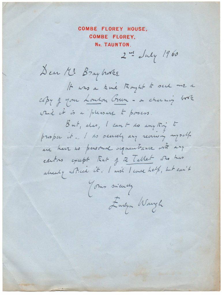 WAUGH Evelyn Autograph Letter Signed 1960 regretting he cannot review a book