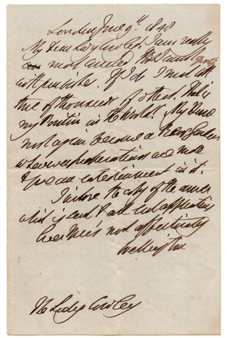 WELLINGTON Duke of - Autograph Letter Signed 1848 to his niece