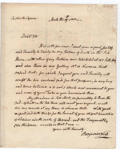 WEST Benjamin - Autograph Letter Signed 1818 about a painting