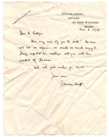 WEST Rebecca - Autograph Letter Signed 1959